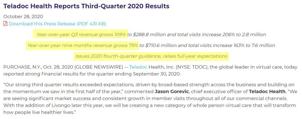 美股研究室:TDOC 2020 Q3營收大幅度成長
